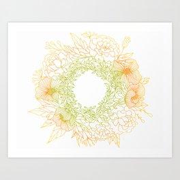 Tangerine and Olive Flowery Linocut Wreath Art Print