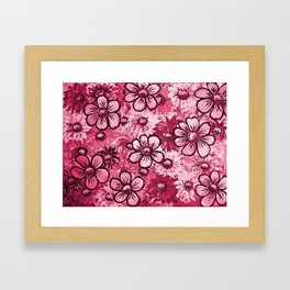 Abstract red flowers Framed Art Print