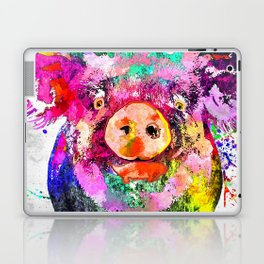 Pig Watercolor Grunge Laptop & iPad Skin