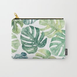 Tropical leaves Monstera leaves Jungle leaves Palm leaves Carry-All Pouch