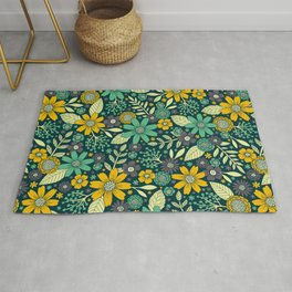 Teal, Yellow & Purple Floral/Daisy Pattern Rug
