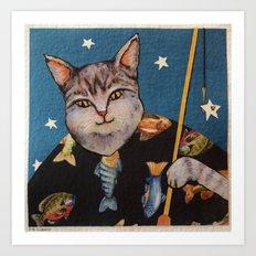 Cat Wishing Art Print