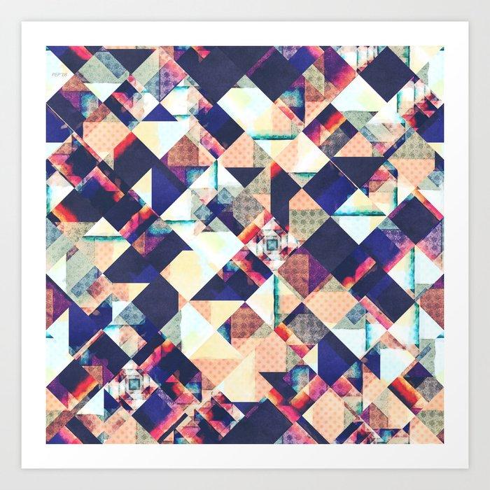 Geometric Grunge Pattern Art Print