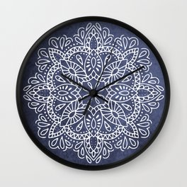 Mandala Vintage White on Ocean Fog Gray Wall Clock