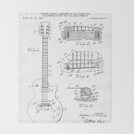 Gibson Guitar Patent - Les Paul Guitar Art - Black And White Throw Blanket