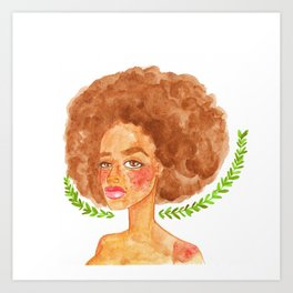 watercolor portrait of a beautiful freckled woman Art Print