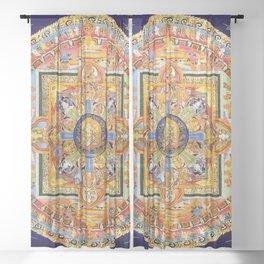 Buddhist Mandala 49 Green Tara Sheer Curtain