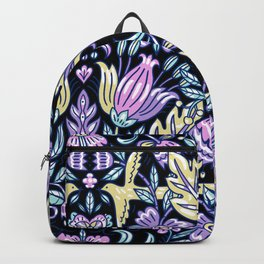 Purple and Black Flower Pattern  Backpack