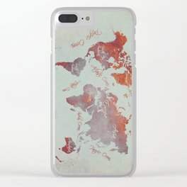 world map 142 red grey #worldmap #map Clear iPhone Case