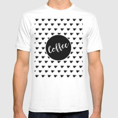 Coffee Polka-Dots - Coffee Noir flavor MEDIUM White Mens Fitted Tee