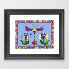 Dragonfly Love with Border Framed Art Print