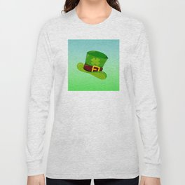 St. Patrick's Day: Leprechaun Hat With Lucky Shamrock Long Sleeve T-shirt