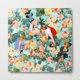 Floral and Pin Up Girls II Pattern Metal Print