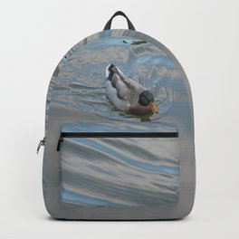 Mallard duck swimming in a turquoise lake 1 Backpack