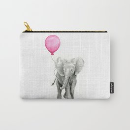 Elephant Watercolor Pink Balloon Baby Animal Nursery Girl Art Carry-All Pouch