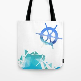 Steering wheel low-poly vector illustration. Tote Bag