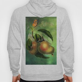 Bombay Mangos with Butterfly, Vintage Botanical Illustration Collage Art Hoody