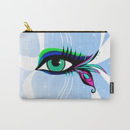 Rainbow Peacock Feather Eyelashes Eye Carry-All Pouch