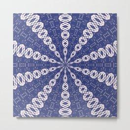 Navy Blue and Pink Mitochondria Kaleidoscope Metal Print