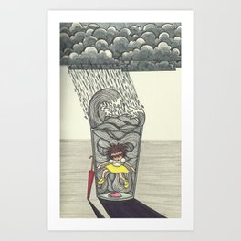 Thunder inside a Water cup Art Print