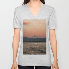 Mt. Hood Moonrise at Sunset Unisex V-Neck