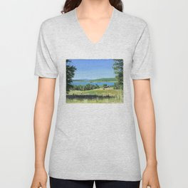 cabin - by phil art guy Unisex V-Neck