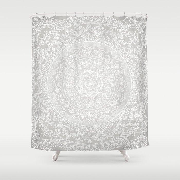 Mandala Soft Gray Shower Curtain