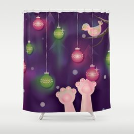 Christmas Window at Night Shower Curtain