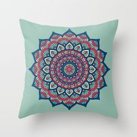 islam Throw Pillows featuring Mandala Blue by Mantra Mandala