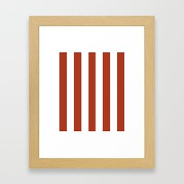 Chinese red - solid color - white vertical lines pattern Framed Art Print