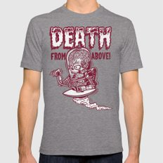 Death From Above (orange) Tri-Grey X-LARGE Mens Fitted Tee