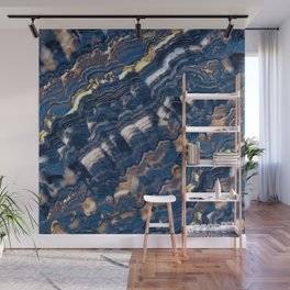 Blue marble with Golden streaks Wall Mural