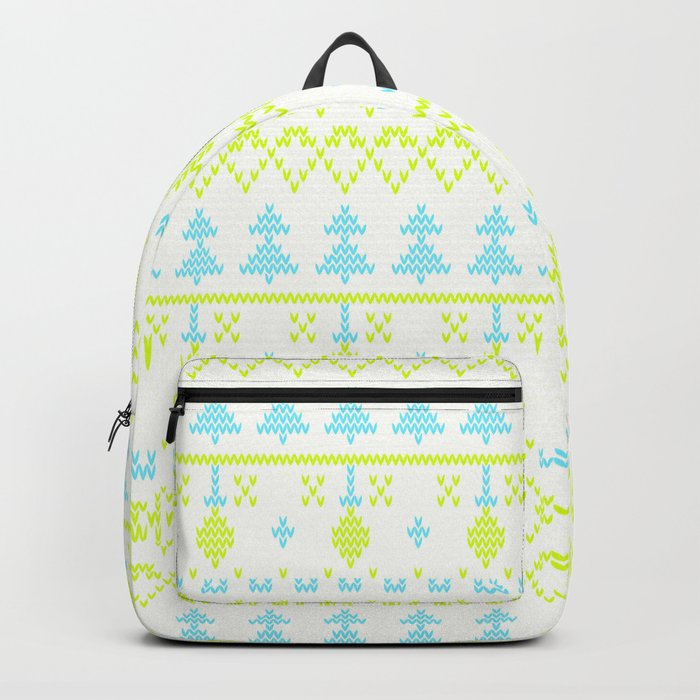 3 Knitted Christmas pattern in retro style pattern Backpack