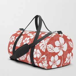 Red Hibiscus Hawaiian Flower Blooms and Tropical Leaves Pattern Duffle Bag
