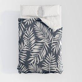 Tropical Palm Leaves - Palm Leaf Pattern - Navy Blue Duvet Cover