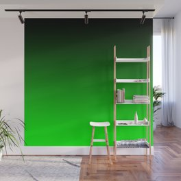 Black Lime Green Neon Nights Ombre Wall Mural