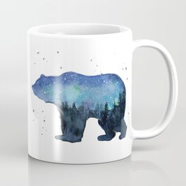 Forest Bear Silhouette Watercolor Galaxy Coffee Mug