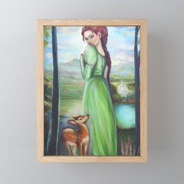 Bernadette and a fawn, oil paintinting on canvas Framed Mini Art Print