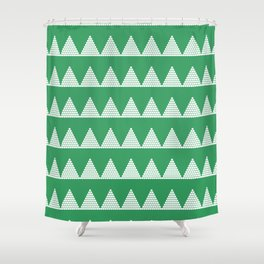 Modern Christmas Dots Triangles in Happy Green Shower Curtain