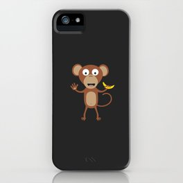 monkey with banana iPhone Case