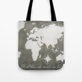 Not All Who Wander - World Map Tote Bag