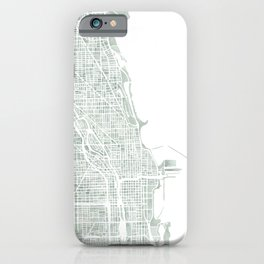 Map Chicago city watercolor map iPhone Case