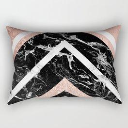 Modern rose gold glitter foil white black marble glitter triangles stripes Rectangular Pillow
