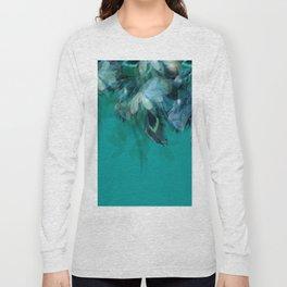 DREAMY FEATHERS & LEAVES - Deep Cyan Long Sleeve T-shirt