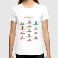The Yoguineas Collection - Namast-hay! Womens Fitted Tee White SMALL