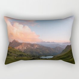 Mountain lake in Germany with Moon - landscape photography Rectangular Pillow