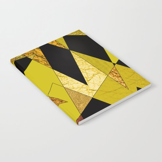Abstract #508 Black, Gold & Copper Shards Notebook