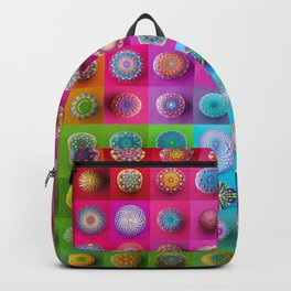Colourful collection of hand painted mandala stones Backpack