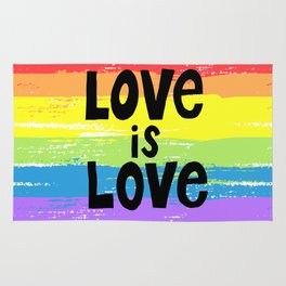 Love is love over the rainbow Rug