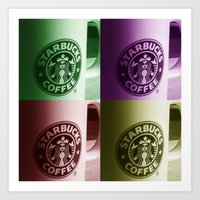 starbucks Art Prints featuring Starbucks  by Chris Thaxter